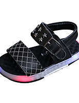 Girls' Sandals Spring Summer Comfort PU Casual Flat Heel LED Black White
