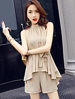 Для женщин На выход Офис Вечеринка/коктейль Блузка Брюки Костюмы Круглый вырез,просто Уличный стиль Однотонный