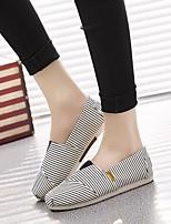 Черно-белый Черный / синий-Для женщин-Повседневный-Полиуретан-На толстом каблуке-Босоножки-На плокой подошве