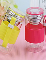 2Pcs 301-400ml Glass Portable  Water Bottle