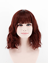 Fashion lady short paragraph wig brown red straight bang natural song high temperature wire wig