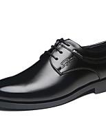 Черный Коричневый-Для мужчин-Повседневный-Кожа-На плоской подошве-Светодиодные подошвы-Туфли на шнуровке