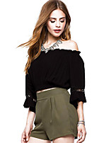 Women's Casual/Daily Simple Spring Fall Blouse,Solid Floral Boat Neck ½ Length Sleeve Polyester Medium