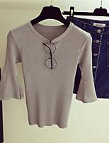 Damen Solide Einfach Lässig/Alltäglich T-shirt,Rundhalsausschnitt Frühling Sommer ½ Länge Ärmel Baumwolle Undurchsichtig