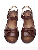 Sandaletler-Rahat-Topuktan Bağlamalı-Deri-Dolgu Topuk--Kadın