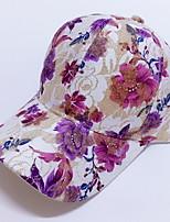 Women Summer Baseball Hat Sequins Rose Flower Prints Outdoor Hip Hop Sun Hat