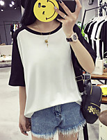 Women's Casual/Daily Simple T-shirt,Color Block Round Neck Short Sleeve Cotton
