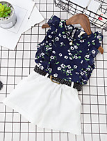 Girls' Going out Casual/Daily Floral Sets,Rayon Polyester Summer Sleeveless Clothing Set