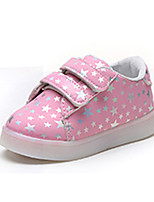Girls' Athletic Shoes Spring Summer Comfort PU Athletic Casual Flat Heel LED Hook & Loop Blushing Pink Black White