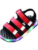 Boys' Sandals Comfort PU Spring Summer Casual Comfort LED Flat Heel Black Ruby Blue Flat