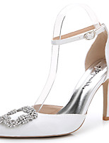 Women's Heels Summer Fall D'Orsay & Two-Piece Silk Wedding Party & Evening Dress Casual Stiletto Heel Rhinestone Crystal Sparkling Glitter