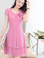 Women's Plus Size Simple A Line Dress,Solid Round Neck Above Knee Short Sleeve Polyester Summer Mid Rise Inelastic Medium
