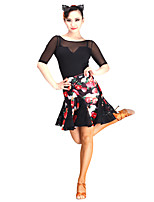 Latin Dance Tutus & Skirts Women's Performance Lace Tulle Velvet Laces 1 Piece Natural Skirt