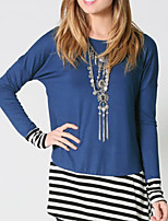 Women's Casual/Daily Simple Spring T-shirt,Patchwork Round Neck Long Sleeve Others Thin