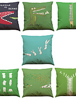 Set of 7 Spoof Rabbit Crocodile Pattern Linen  Cushion Cover Home Office Sofa Square  Pillow Case Decorative Cushion Covers Pillowcases As a Gift