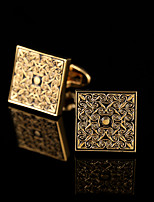 Royal Golden Pattern Cufflinks Gold Plated Men French Shirt Cuffs Western Style Metal Square Sleeve Buttons Mens Jewelry 2 Color