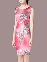 Women's Plus Size Going out Vintage Sheath Dress,Floral Round Neck Above Knee Sleeveless Nylon Summer Mid Rise Micro-elastic Medium