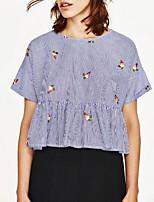 Tee-shirt Femme,Rayé Broderie Sortie Décontracté / Quotidien Sexy simple Chic de Rue Eté Manches Courtes Col Arrondi Coton Fin Moyen