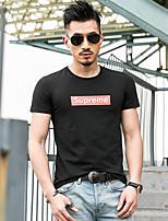 Tee-shirt Homme,Imprimé Décontracté / Quotidien Sportif simple Actif Eté Manches Courtes Col Arrondi Coton Fin