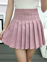 Women's High Rise Casual/Daily Mini Skirts,Cute A Line Pleated Solid Summer