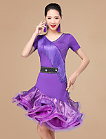 Shall We Latin Dance Dresses Women Polyester Rhinestones Ruffles 2 Pieces