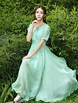 One-Piece/Dress Classic/Traditional Lolita Vintage Inspired Elegant Princess Cosplay Lolita Dress Solid Short Sleeve Floor-length Dress