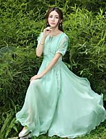 Einteilig/Kleid Klassische/Traditionelle Lolita Vintage Inspirationen Elegant Prinzessin Cosplay Lolita Kleider Grün einfarbig Kurzarm