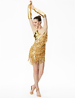 Shall We Latin Dance Dresses Women Performance Chinlon Sequined Sequins Tassel(s) 3 Pieces