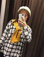 Women's Casual/Daily Simple Shirt,Plaid Shirt Collar Long Sleeve Cotton