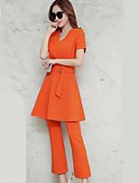 Chemise Pantalon Costumes Femme,Couleur Pleine Décontracté / Quotidien Travail Soirée / Cocktail Street Chic Sophistiqué Col en V
