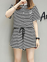 Women's Casual/Daily Simple T-shirt Pant Suits,Striped Stand