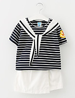 Girl Casual/Daily Striped Sets,Cotton Summer Spring Fall Clothing Set