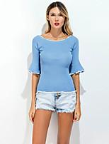 Damen Solide Retro Einfach Ausgehen Lässig/Alltäglich T-shirt,Rundhalsausschnitt Sommer ½ Länge Ärmel Elasthan Dünn