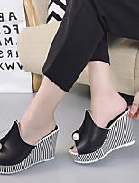 Damen-Slippers & Flip-Flops-Kleid Lässig-Kunstleder-Keilabsatz-Komfort Club-Schuhe-