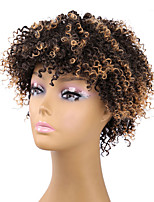 Kinky Curly Synthetic Hair Afro Wigs Brown Mixed Color Fashion Design Hot Sale High Quality Heat Resistant