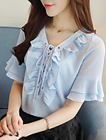 Women's Ruffles and Frills Going out Casual/Daily Simple Cute Summer Shirt,Solid Round Neck ½ Length Sleeve Polyester Medium