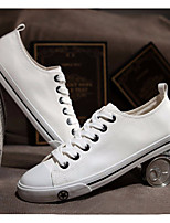 Women's Sneakers Comfort Canvas PU Spring Casual White Black Flat