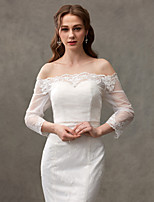 Women's Wrap Shrugs Lace Wedding Button Lace