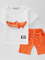 Unisex Animal Sets,Cotton Polyester Summer Spring Short Sleeve Clothing Set