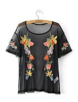 Damen Solide Blumen Sexy Einfach Street Schick Ausgehen Lässig/Alltäglich T-shirt,Rundhalsausschnitt Sommer Kurzarm Seide Baumwolle