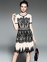 OUYALIN Fashion Women's Plus Size Vintage Casual Party Patchwork Hollow Lace Pleat Short Sleeve A Line Dress