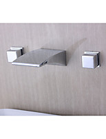 Contemporary Modern Wall Mounted Waterfall with  Ceramic Valve Two Handles Three Holes for  Chrome  Bathroom Basin Faucet