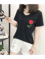 Women's Going out Casual/Daily Simple Summer T-shirt,Solid Embroidered Round Neck Short Sleeve Cotton Rayon Thin