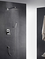Contemporary Art Deco/Retro Modern Wall Mounted Thermostatic Rain Shower Handshower Included with  Brass Valve Single Handle Two Holes