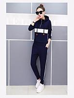 Damen einfarbig Einfach Aktiv Lässig/Alltäglich Sport Kapuzenshirt Hose Anzüge,Mit Kapuze Lange Ärmel