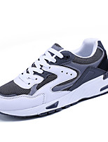 Women's Athletic Shoes Spring Fall Comfort PU Casual Flat Heel Split Joint Black/White Black Walking