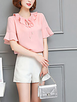 Women's Casual/Daily Simple Summer Fall Blouse,Solid Round Neck Short Sleeve Silk Cotton Opaque
