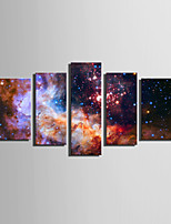 E-HOME Stretched Canvas Art Mystery of The Universe of Stars Decoration Painting Set Of 5
