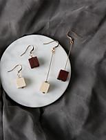 Серьги-слезки Мода Euramerican Дерево Сплав В форме квадрата Бижутерия Для Для вечеринок Повседневные 1 пара