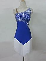 Latin Dance Dresses Women's Performance Spandex Sequin Tassel(s) 1 Piece Sleeveless Natural